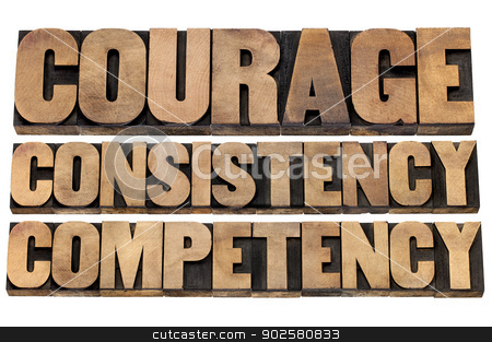 courage, consistency, competency stock photo, courage, consistency, competency - 3 Cs concept of character based leadership - isolated text in vintage letterpress wood type by Marek Uliasz