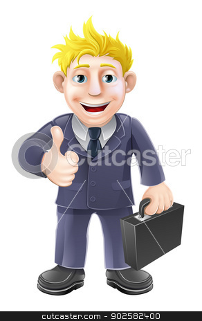 Thumbs up businessman stock vector clipart, Business man holding a briefcase and giving an enthusiastic thumbs up by Christos Georghiou