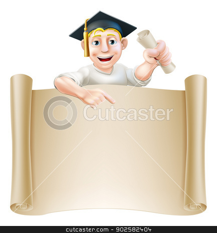Graduate and scroll banner sign stock vector clipart, Cartoon man in moratar board holding a certificate, diploma or other qualification, peeping over a scroll and pointing down by Christos Georghiou