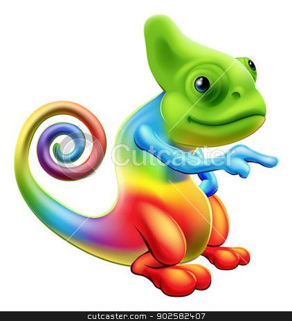 Rainbow chameleon mascot pointing stock vector clipart, Illustration of a cartoon rainbow chameleon mascot standing and pointing by Christos Georghiou