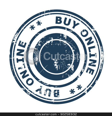 Buy online concept stamp stock photo, Buy online concept stamp isolated on a white background. by Martin Crowdy