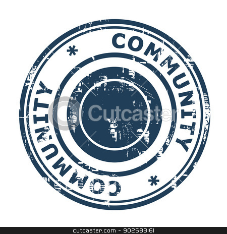 Community stamp stock photo, Community stamp isolated on a white background. by Martin Crowdy