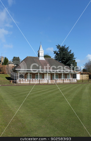 English bowling green stock photo, English bowling green with clock tower on pavilion, Scarborough, England. by Martin Crowdy