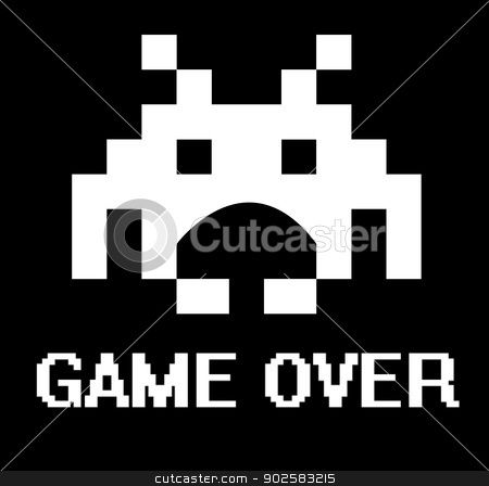 Game over space invader stock photo, Gave over business concept with space invader. by Martin Crowdy