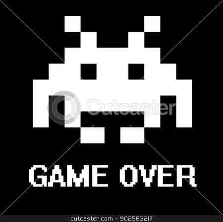 Game over stock photo, Gave over business concept with space invader. by Martin Crowdy
