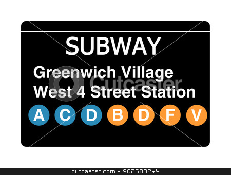 Greenwich Village West 4 Street Station subway sign stock photo, Greenwich Village West 4 Street Station subway sign isolated on white, New York city, U.S.A. by Martin Crowdy