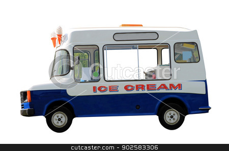 Ice cream van isolated stock photo, Side view of ice cream van isolated on white background. by Martin Crowdy