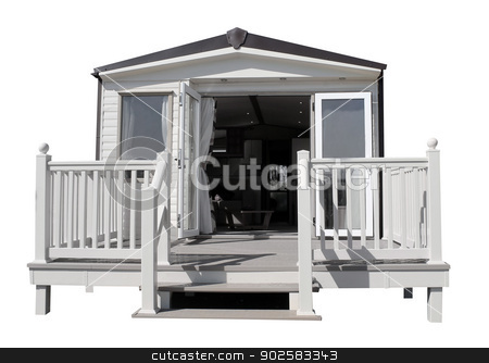 Luxurious modern caravan stock photo, Exterioer of luxurious modern caravan with open doors. by Martin Crowdy