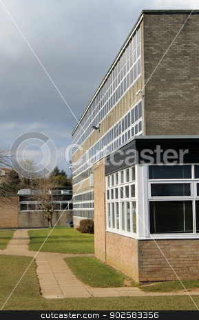 Modern school building stock photo, Exterior of modern school building, Scarborough, England. by Martin Crowdy