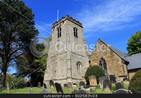 Old English church and cemetery stock photo, Old English church and cemetery, Scalby Village, England. by Martin Crowdy