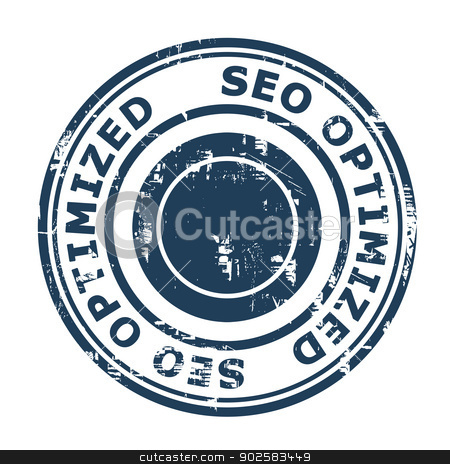 SEO Optimized concept stamp stock photo, SEO Optimized concept stamp isolated on a white background. by Martin Crowdy