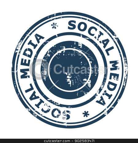 Social media stamp stock photo, Social media stamp isolated on a white background. by Martin Crowdy