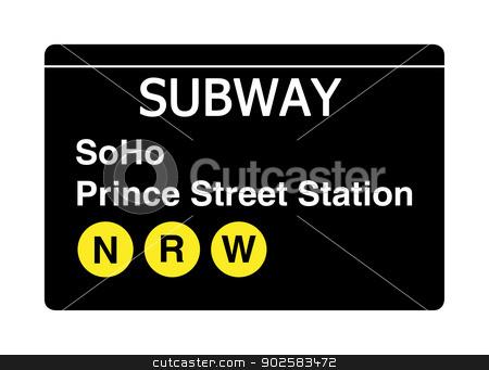 Soho Prince Street Station subway sign stock photo, Soho Prince Street Station subway sign isolated on white, New York city, U.S.A. by Martin Crowdy