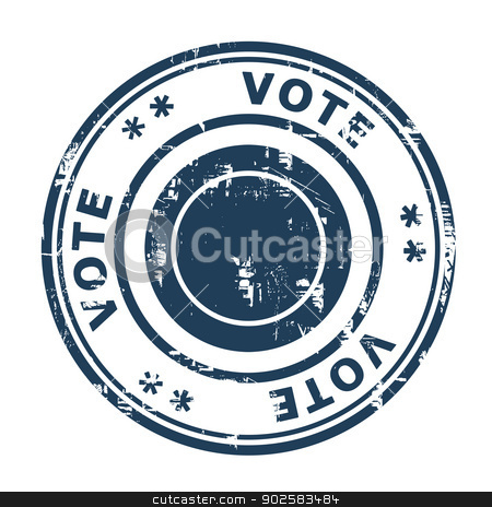 Vote concept stamp stock photo, Vote concept stamp isolated on a white background. by Martin Crowdy