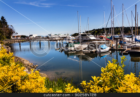 Bainbridge Island Harbor Puget Sound Washington State stock photo, Bainbridge Island Harbor Docks Piers Sailboats Washington Pacific Northwest by William Perry