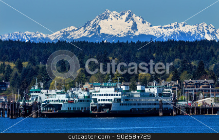 Bainbridge Island Ferry Dock Puget Sound Mount Olympus Snow Moun stock photo, Bainbridge Island Ferry Dock Puget Sound Mount Olympus Snow Mountains Olympic National Park Kitsap County Washington State Pacific Northwest  by William Perry