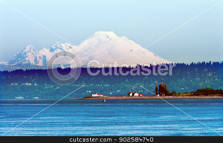 Mount Baker Puget Sound Snow Mountain Lighthouse Washington Stat stock photo, Mount Baker Puget Sound Snow Mountains LIghthouse Washington State Pacific Northwest by William Perry