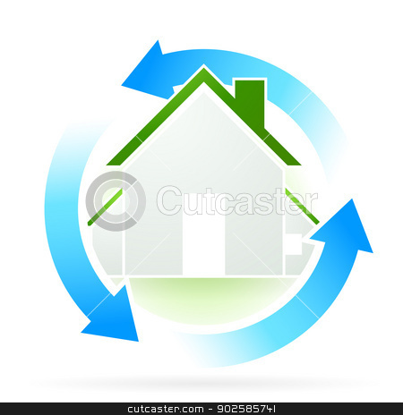 House Icon stock vector clipart, House Icon with Blue Arrows by Vadym Nechyporenko