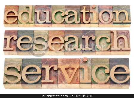 education, research and service stock photo, education, research and service words - possible university or college tagline or statement - isolated text in letterpress wood type by Marek Uliasz