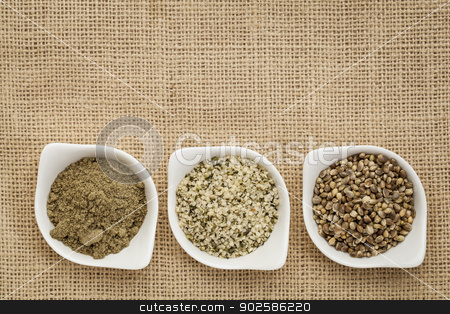 hemp products stock photo, hemp products: seeds, hearts (shelled seeds) and protein powder in small ceramic bowls on burlap canvas by Marek Uliasz
