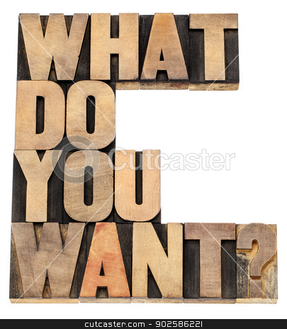 what do you want question stock photo, what do you want question - isolated text in vintage letterpress wood type by Marek Uliasz