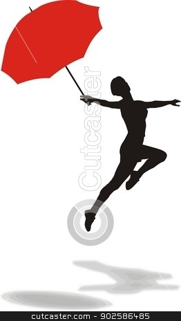 Woman with umbrella stock vector clipart, vector illustration of a woman jumping with umbrella by Vladim?