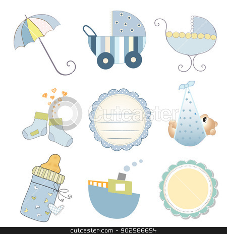 new baby boy items set isolated on white background stock vector clipart, new baby boy items set isolated on white background, vector illustration by balasoiu