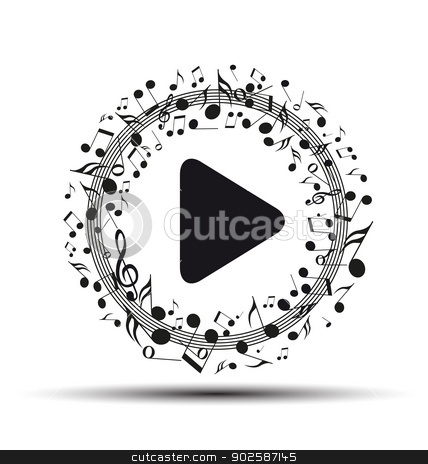 music stock vector clipart, Decoration of musical notes in the shape of a play button by Miroslava Hlavacova