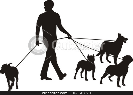 Man and four dogs stock vector clipart, vector illustration Man as walking the four dog by Vladim?