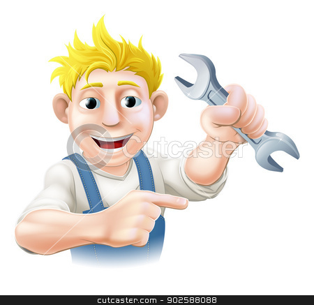 Cartoon Mechanic or Plumber stock vector clipart, An illustration of a cartoon mechanic or plumber with a wrench or spanner by Christos Georghiou