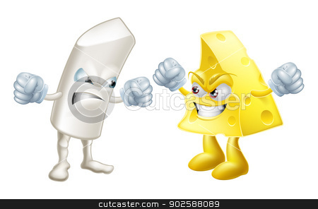 Like chalk and cheese stock vector clipart, Chalk and cheese fighting concept. Opposites or dissimilar types not getting on, from the saying: like chalk and cheese, meaning very different.  Could also be to do with partisanship or tribalism  by Christos Georghiou