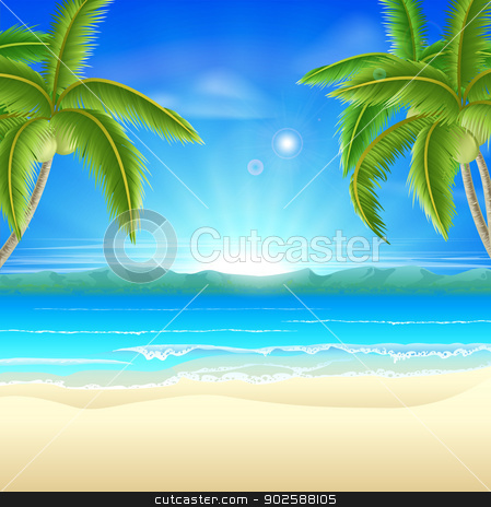 Beach summer holiday background stock vector clipart, Summer holiday beach background of a beautiful summer sandy beach with coconut palm trees framing the image by Christos Georghiou