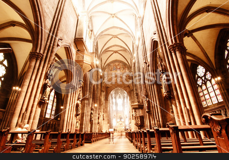 HDRI photo of the Freiburg Muenster stock photo, HDRI Photo of the Interior of the Freiburg Muenster in Freiburg im Breisgau, Germany, Europe. by Michael Osterrieder
