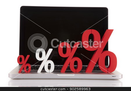 Internet Shoping concept stock photo, Computer, basket and free web shoping by fikmik