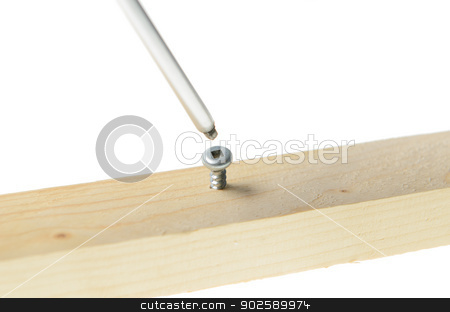 Screw and Screwdriver stock photo, Robertson screwdriver screwing into wood, isolated on white background. by Richard Nelson