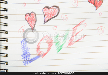 Love Written in Notebook. stock photo, Pen drawing love doodle in a notebook by Richard Nelson
