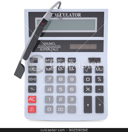 Google Glass and calculator stock photo, Google Glass and calculator. Isolated render on a white background by cherezoff