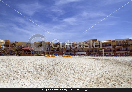 Large Resort on the Beach stock photo, A view of a hotel resort along the beach by Kevin Tietz