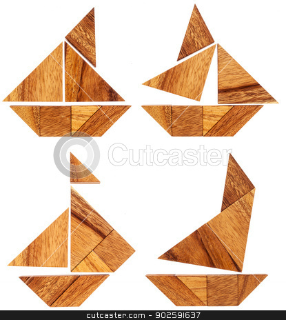 tangram sailing boats stock photo, four abstract pictures of sailing boats built from seven tangram wooden pieces, a traditional Chinese puzzle game by Marek Uliasz
