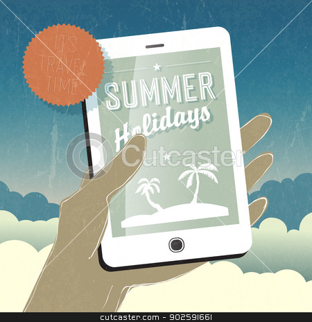 Summer holidays conceptual illustration. Smart phone in hand. Ve stock vector clipart, Summer holidays conceptual illustration. Smart phone in hand. Vector  by pashabo