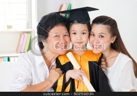 Kindergarten graduate stock photo, Kindergarten graduation. Happy Asian family, grandparent, parent and grandchild on her kindergarten graduate day. by szefei