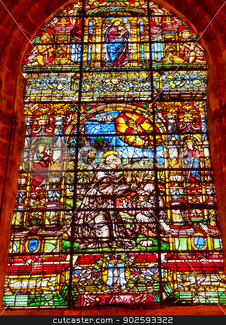 Saint Francis Stained Glass Cathedral of Saint Mary of the See S stock photo, Saint Francis Stained Glass Created 1556 Seville Cathedral, Cathedral of Saint Mary of the See, Seville, Andalusia Spain.  Built in the 1500s.  Largest Gothic Cathedral in the World and Third Largest Church in the World.  Burial Place of Christopher Columbus. by William Perry