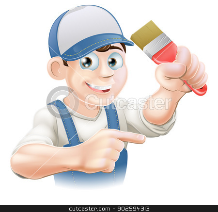 Painter decorator pointing stock vector clipart, Illustration of a cartoon painter decorator in a cap pointing by Christos Georghiou