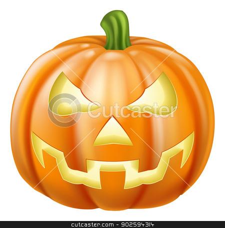 Halloween carved pumpkin stock vector clipart, Illustration of a carved Halloween pumpkin or jack o' lantern  by Christos Georghiou