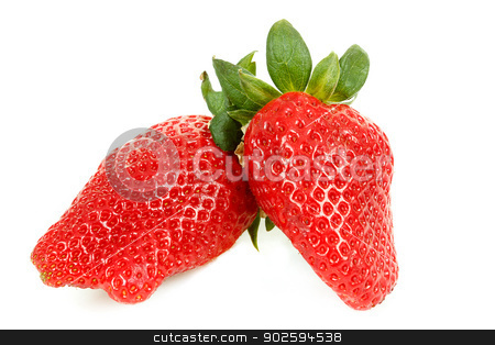fresh strawberry isolated on white stock photo, fresh red strawberry isolated on white background by Artush