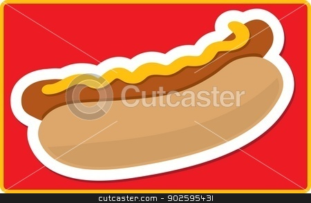 Hot Dog stock vector clipart, A stylized hot dog and bun on a red background by Maria Bell