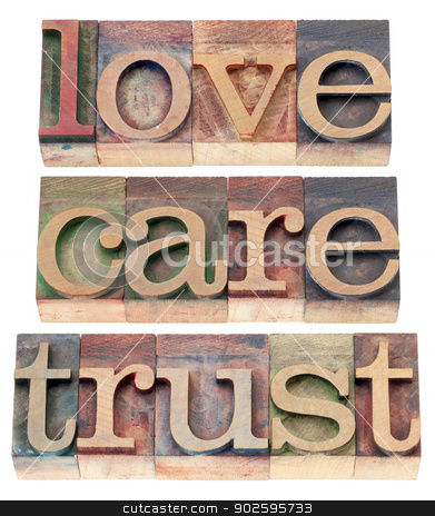 trust, love, respect in wood type stock photo, trust, love, respect words  - relationship concept  - isolated text in letterpress wood type by Marek Uliasz