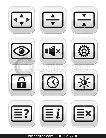 Computer tv monitor screen vector buttons set stock vector clipart, Vector screen buttons set isolated on white - resize screen, settings, sound, account by Agnieszka Bernacka