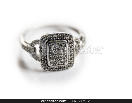 White gold ring stock photo, White gold ring on white background by Dutourdumonde