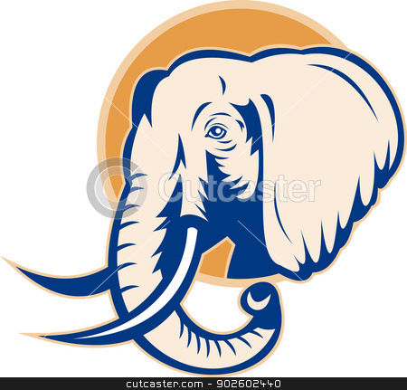 african bull elephant head stock photo, illustration of an african bull elephant head retro style by patrimonio